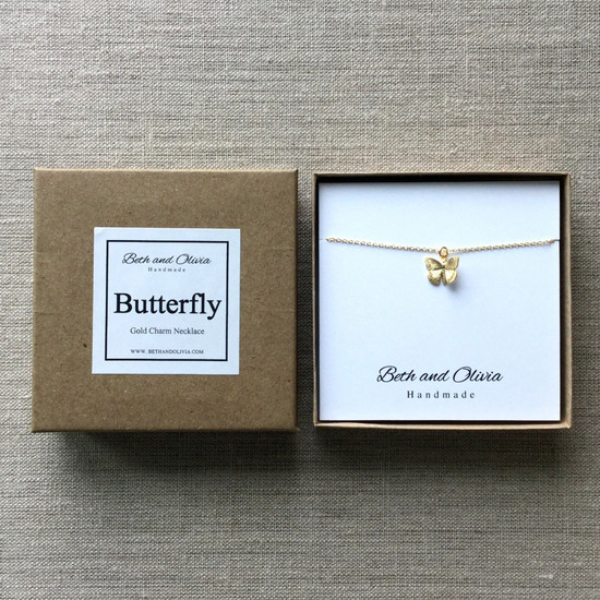 Gold Charm Necklace - Butterfly | Beth & Olivia | Handmade in Canada