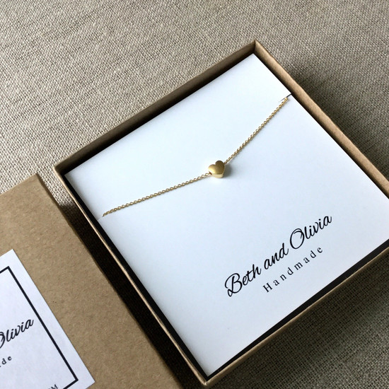Gold Charm Necklace - Small Heart | Beth & Olivia | Handmade in Canada