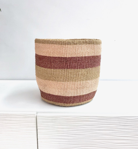 Kiondo Basket - Natural With Brown & Greeen Stripes | 10"