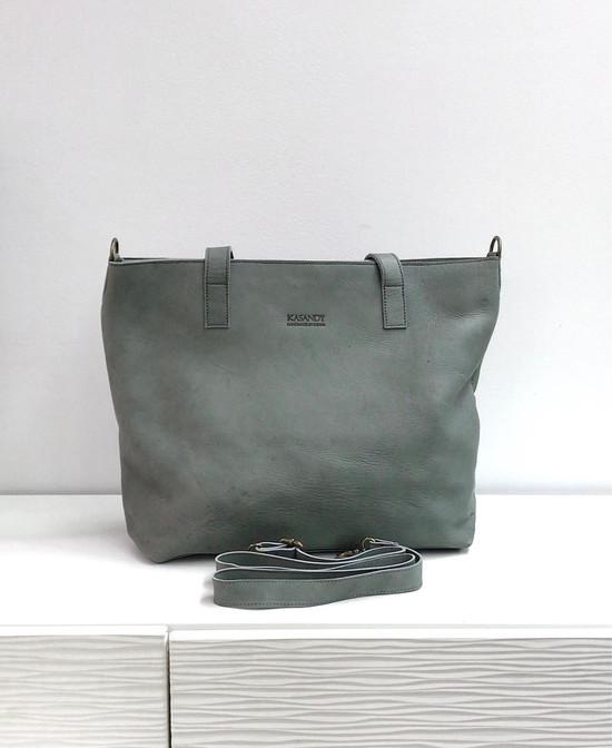 Genuine Leather Tote Bag | Grey | Handmade in Kenya