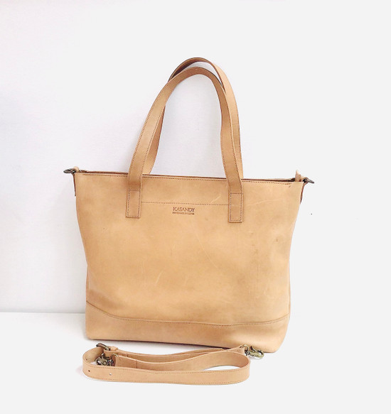 Genuine Leather Tote Bag | Tan | Handmade in Kenya