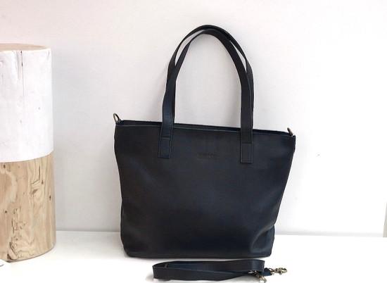 Genuine Leather Tote Bag | Black | Handmade in Kenya