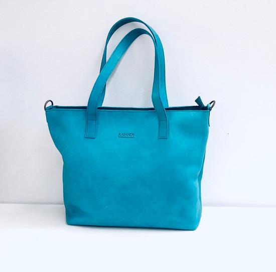 Genuine Leather Tote Bag | Turquise | Handmade in Kenya