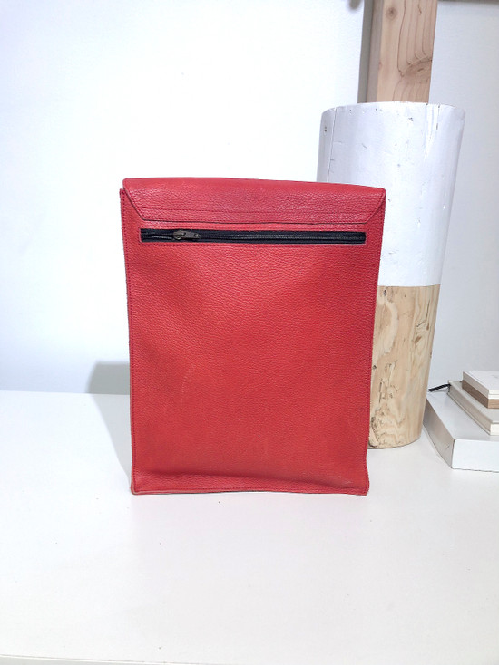 "Leather Satchel - 14"" - Red | Genuine Leather | Unisex | Handmade in Kenya"