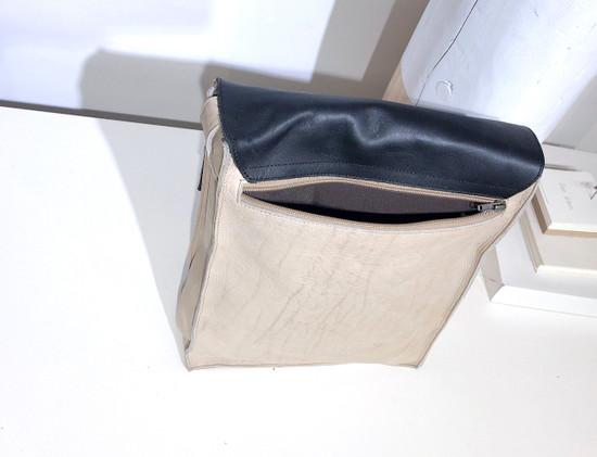 "Leather Satchel - 14"" - White & Black | Genuine Leather | Unisex | Handmade in Kenya"