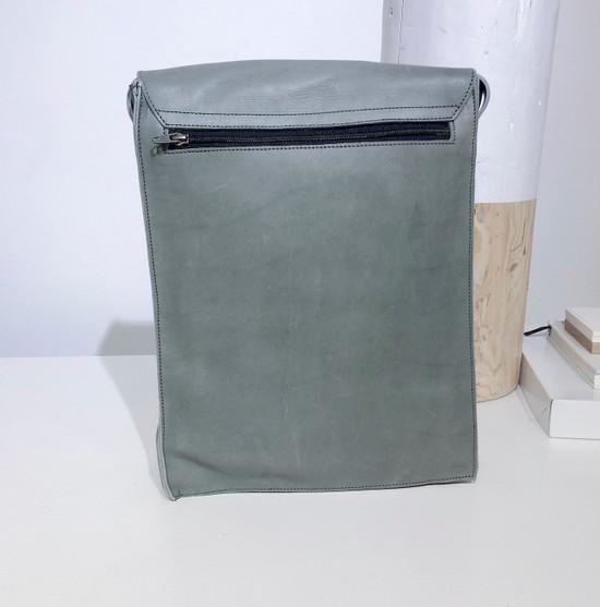 "Leather Satchel - 14"" - Light Grey | Genuine Leather | Unisex | Handmade in Kenya"