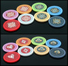 Ornate series poker chips fronts and backs