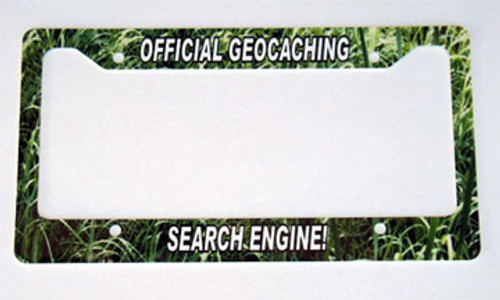 Custom license plate frame - geocaching