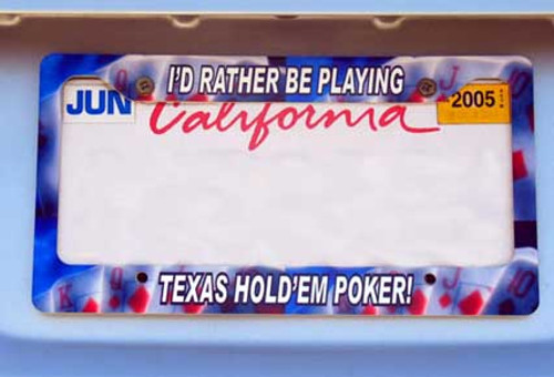 Custom license plate frame - poker