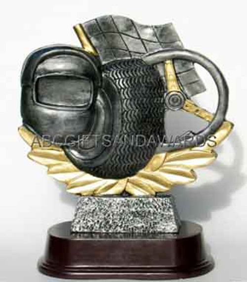 Auto racing trophy statue award