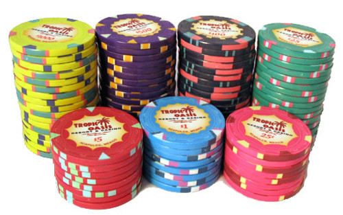 Tropic Oasis Poker Chip stacks