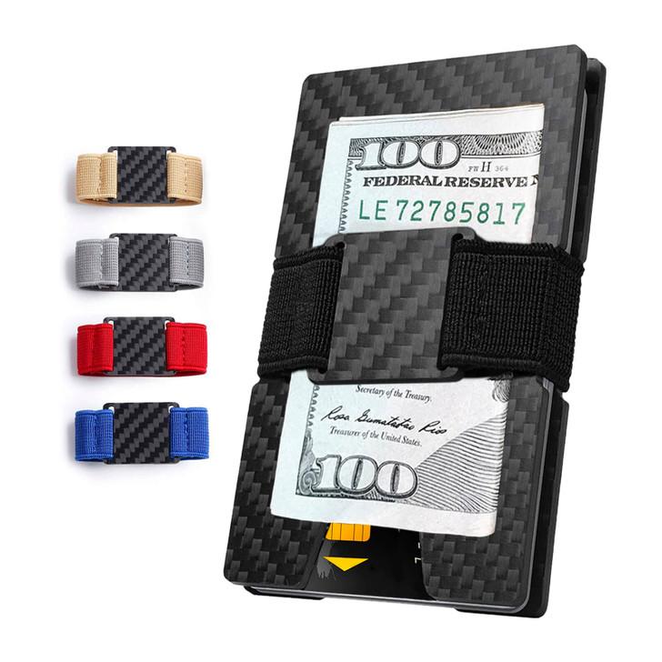 Carbon Fiber Money Clip Wallet with 5 Elastic Bands | PurCarbon Series