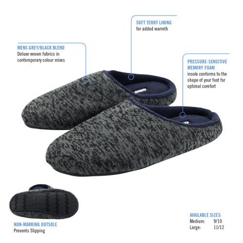 ObusForme Memory Foam Comfort Slippers for Men