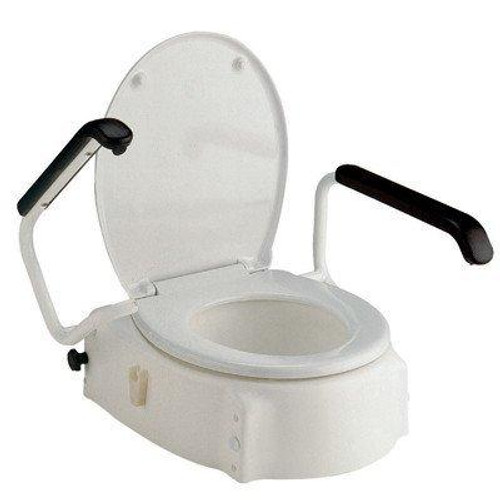 Invacare Elongated Toilet Seat Raiser with Lid and Armrests H430A | UPC 9153656064