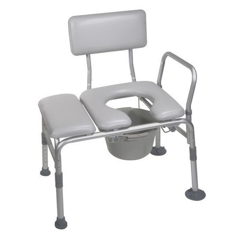 Drive Medical Padded Seat Transfer Bench with Commode Opening  | UPC: 822383231303