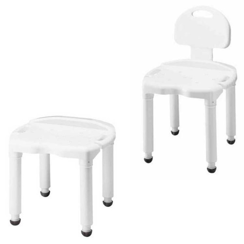 Carex Universal Bath Seat bench with or without backrest | UPC 086876159431, 086876159448