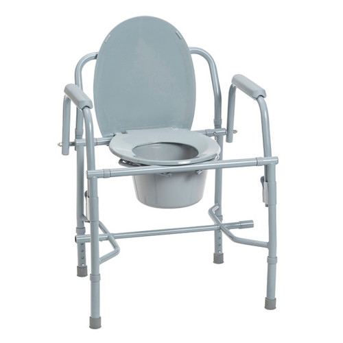 Drive Medical Steel Drop Arm Bedside Commode with Padded Arms | UPC: 822383227498