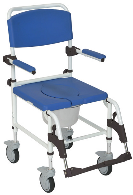 Drive Medical Aluminum Rehab Shower Commode Chair with Four Rear-locking Casters -  DRI-NRS185007