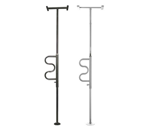 Stander Security Pole & Curve Grab Bar - Black or white | UPC 897564000115, 897564000122