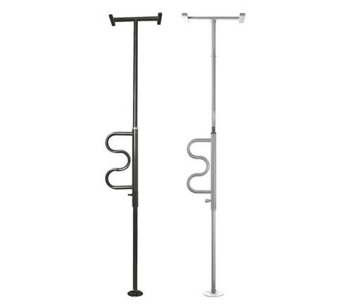 Stander Security Pole & Curve Grab Bar - Black or white | UPC 897564000115, 897564000122