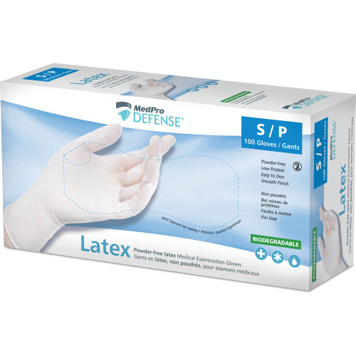 MedPro Defense Powder-Free Laxtex Medical Examination Gloves Small