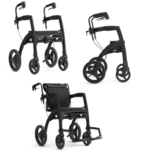 Rollz Motion - Rollator & Transport Chair in One Black | Regular code: 2010RM0012 | Small code: 2011RM0012