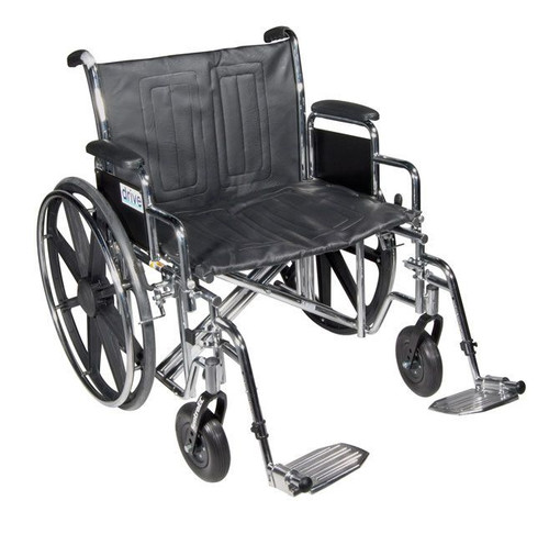 """Drive Medical Sentra EC Heavy Duty Wheelchair with Detachable Desk Arms, Swing away Footrests, 22"""" Seat 