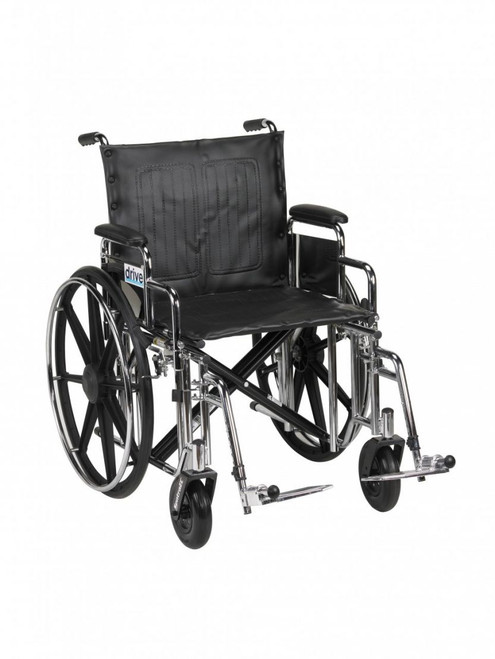 """Drive Medical Sentra Extra Heavy Duty Wheelchair with Detachable Desk Arms, Swing away Footrests, 20"""" Seat 
