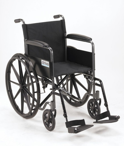 """Drive Medical Silver Sport 1 Wheelchair Fixed Arms and Swing away Footrests 18"""" 
