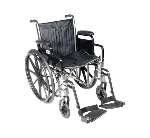 """Drive Medical Silver Sport 2 Wheelchair Detachable Desk Arms, Swing away Footrests, 16"""" Seat 