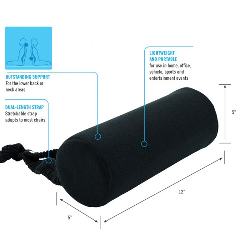 ObusForme Supporting Roll Specifications SR-BLK-01 for neck or back support