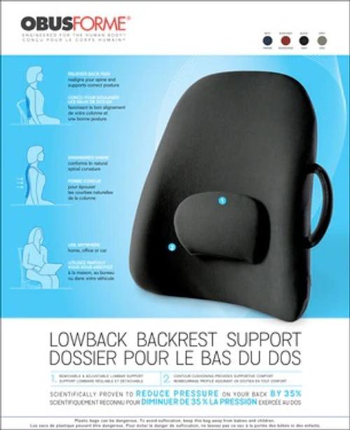 ObusForme Lowback Backrest Support -  OBU-LB-BLK-CAB