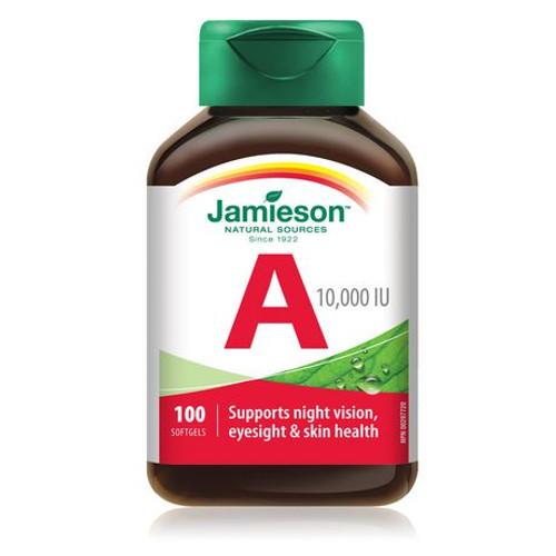 Jamieson Vitamin A 10,000 IU 100 Softgels | UPC 64642020109