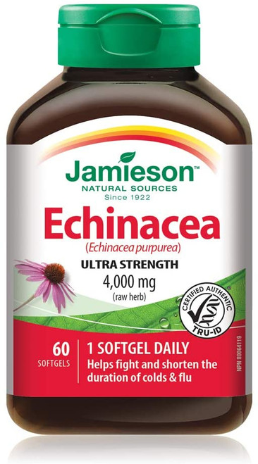 Jamieson Echinacea 4000 mg 60 Softgels | UPC 064642078858 coneflower