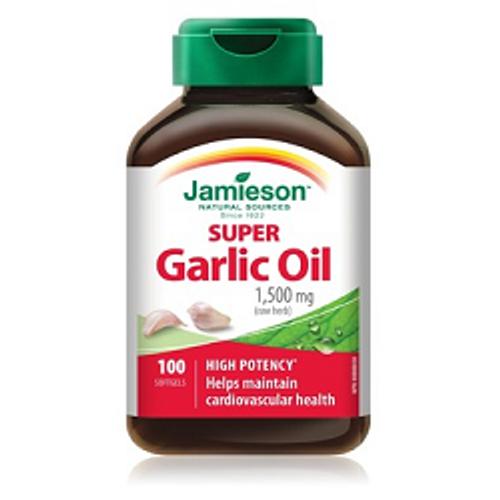 Jamieson Super Garlic Oil Extra Strength 1,500 mg 100 Softgels -  JM-1127-001