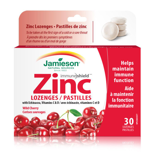 Jamieson Zinc Lozenges with Echinacea, Vitamins C & D - Wild Cherry 30 Lozenges | UPC 064642049629