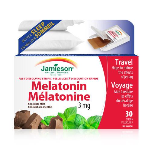 Jamieson Melatonin 3 mg Fast Dissolving Chocolate Mint 30 Strips | UPC 064642048752