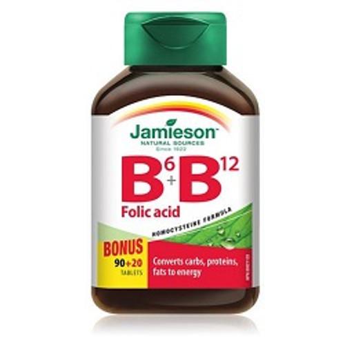 Jamieson Vitamin B6+B12+Folic Acid 90+20 Tablets -  JM-1010-001