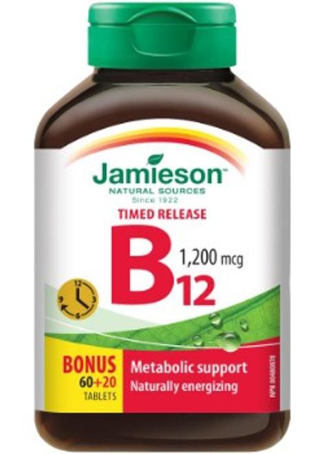 Jamieson Time Release Vitamin B12 1200mcg 60 + 20 Tablets | 0064642028235
