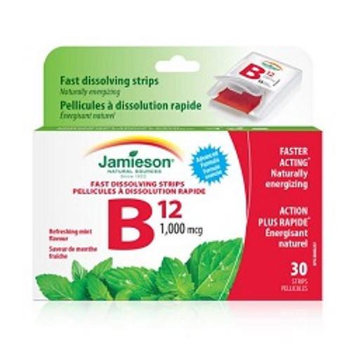 Jamieson Fast Dissolving Strips Vitamin B12 1000mcg Refreshing Mint Flavour 30 Strips -  JM-1102-001