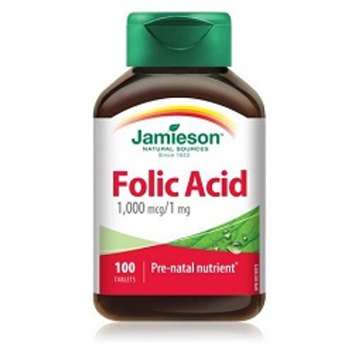Jamieson Folic Acid 1000mcg 100 Tablets -  JM-1090-001