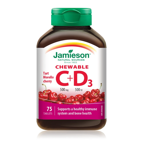 Jamieson Chewable Vitamin C 500mg + D3 500IU - Tart Morello Cherry 75 Tablets | UPC 064642051967
