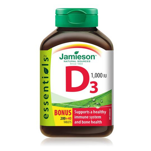 Jamieson Softgels Vitamin D3 1000IU (Bonus) -  200+40 Tablets (Bonus)   UPC 064642052544
