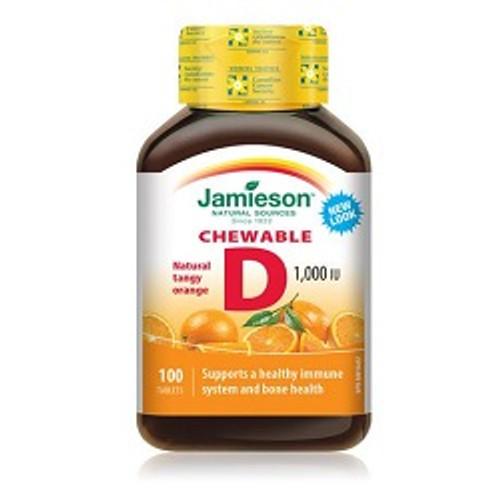 Jamieson Vitamin D 1,000 IU Chewable 100 Tablets -