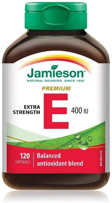 Jamieson Premium Extra Strength Vitamine E 400 IU 120 Softgels | UPC 064642042347