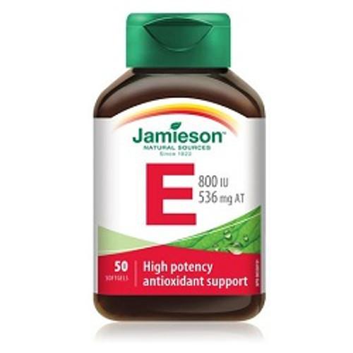 Jamieson Vitamin E 800 IU 50 Softgels | UPC 064642020475