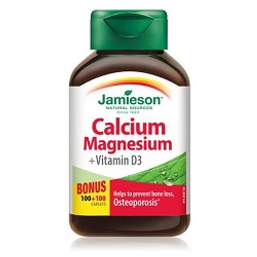 Jamieson Calcium Magnesium + Vitamin D3 Bonus 100+100 Caplets | UPC 064642026743