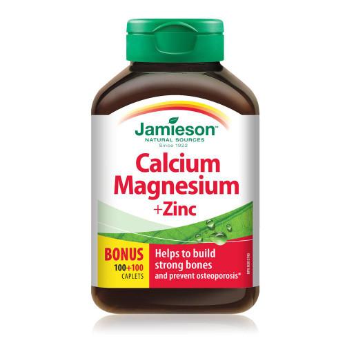 Jamieson Calcium Magnesium + Zinc Bonus 100+100 Caplets | UPC 064642029027