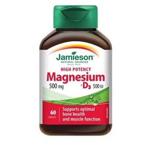 Jamieson High Potency Magnesium 500mg + D3 500IU 60 Caplets -  JM7476