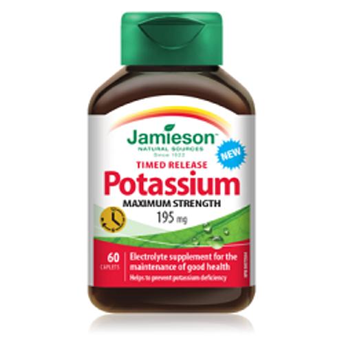 Jamieson Time Released Potassium Maximum Strength 195mg 60 Caplets -  JM9042